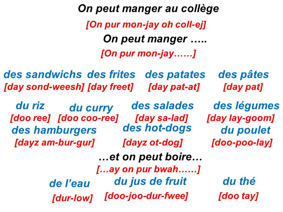 On peut manger au collège [On pur mon-jay oh coll-ej]